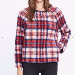 MADEWELL RED PLAID FUZZY FLEECE PULLOVER TOP SZ M